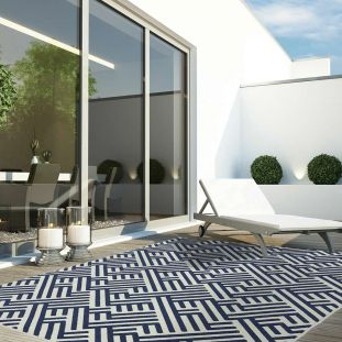 Antibes Outdoor Rug Blue White Linear AN04