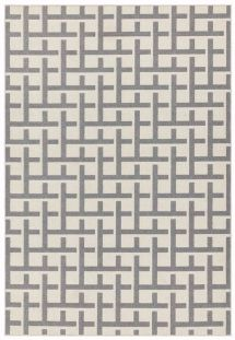 Antibes Outdoor Rug White Grey Grid AN03