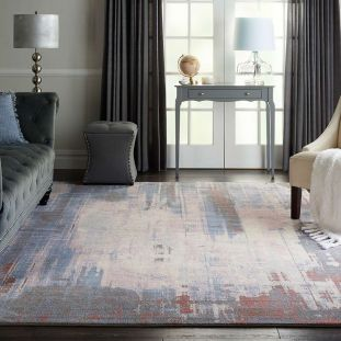 Abstract Artworks ATW04 Blue White Rug