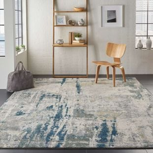 Abstract Artworks ATW05 Ivory Navy Rug