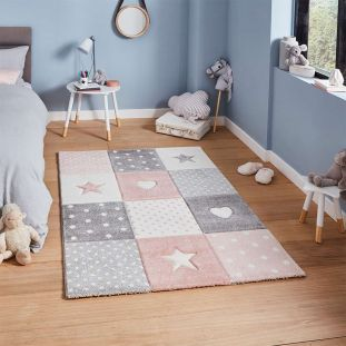 Brooklyn 20339 Childrens Stars and Hearts Pink and Grey Rug