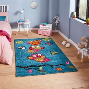 Brooklyn 793 Childrens Rug With Owls and Butterflies