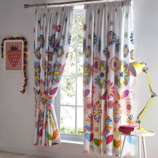 Childrens Candy Bloom Pencil Pleat Curtains