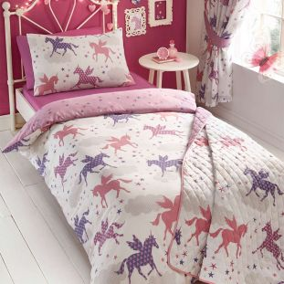 Childrens Quilted Throw Divine Unicorns