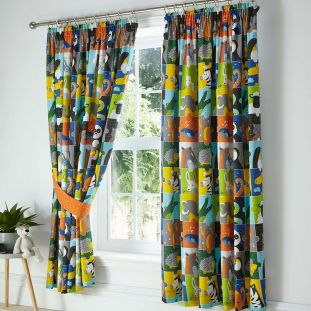 Childrens Lined Animal Jigsaw Curtains