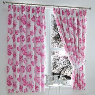 Childrens Tie Dye Pink Hearts Pencil Pleat Curtains