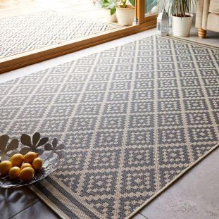 Outdoor Moretti Beige Anthracite Patterned Garden Rug