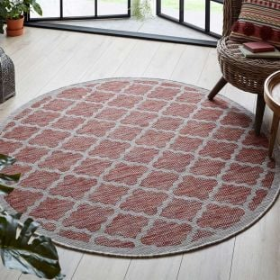Padua Red Grey Traditional Patterned Outdoor Rug