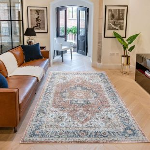 Heritage HRTG105 Rust Blue Rug by Concept Looms