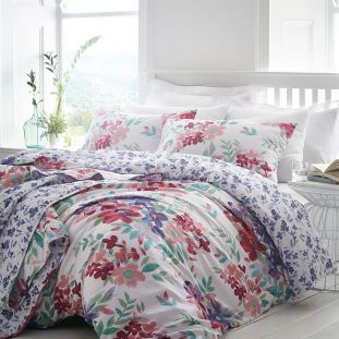 Kew Floral Quilted Throwover Fuschia Multi