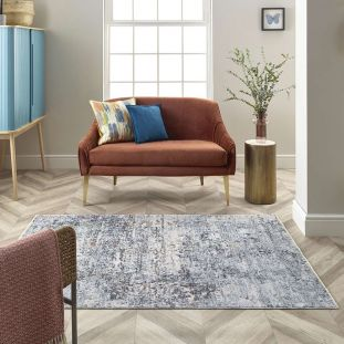 Short Fringe Rugs Ella Abstract Style 6943A