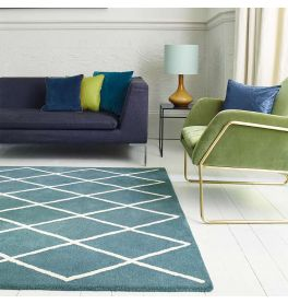 Albany Rug Diamond Teal Wool