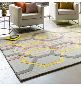 Matrix 67 Hexagon Silver Rug