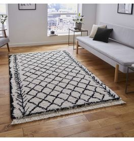 Boho Shaggy Rug 7043 White Black