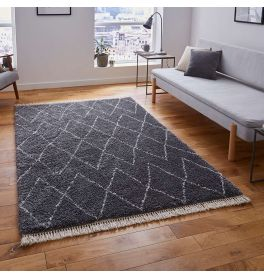 Boho Shaggy Rug 8280 Grey
