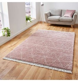 Boho Shaggy Rug 8280 Rose