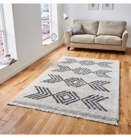 Boho Shaggy Rug 8886 Cream Grey