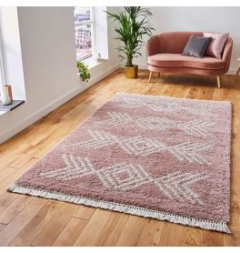 Boho Shaggy Rug 8886 Rose