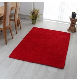 Plain Red Candy Shaggy Rug