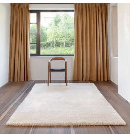 Cream Shaggy Wool Mix Rug Galaxy 100