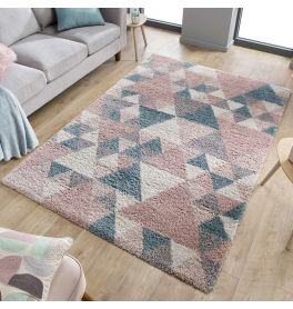 Geometric Dakari Nuru Blush Pink Cream Blue Shaggy Rug