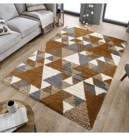 Geometric Dakari Nuru Ginger Cream Grey Shaggy Rug