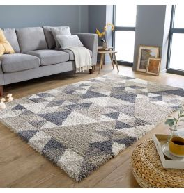 Geometric Dakari Nuru Natural Grey Shaggy Rug