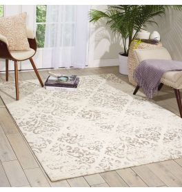 Damask Faded Rug Ivory DAS03