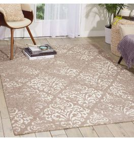 Damask Faded Rug Ivory Grey DAS03
