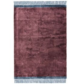 Elgin Tassels Rug Plum Blue Border