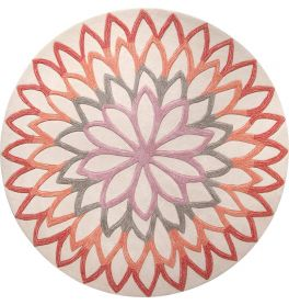 Esprit Lotus Flower Orange Round Rug