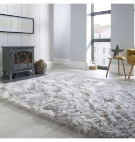 Fluffy Sheepskin Grey Rug