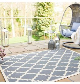 Padua Beige Anthracite Traditional Patterned Garden Rug