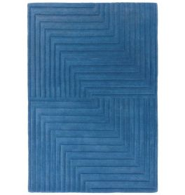 Form Rug Blue Colour 3D Wool Pile
