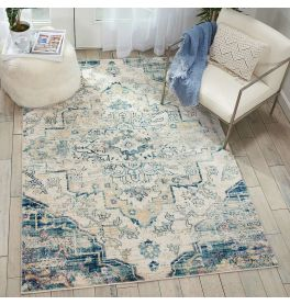 Fusion Rug Cream Blue FSS13