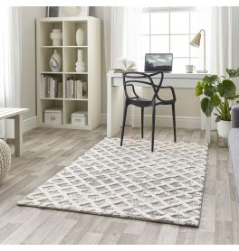 Geometric 3D Rug Maison Grey White 7878A
