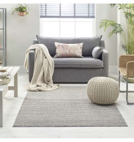 Grey Beige Rug Loop Thin Pile 7546B