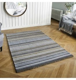 Carter Grey Striped Wool Rug