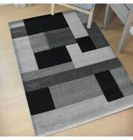 Hand Carved Rug Black Grey