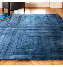 Kingsley Silky Rug Blue Geometric