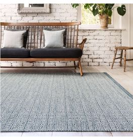 Knox Reversible Rug Blue Wool Dhurry