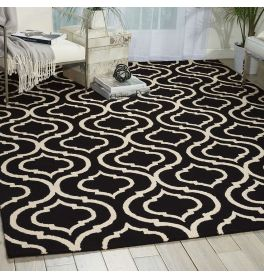 Linear Woolen Rug Black White LIN15