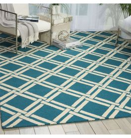 Linear Woolen Rug Teal Ivory LIN04