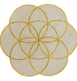 Lotus Flower Rug Gold Wool Viscose