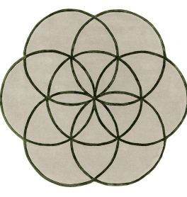 Lotus Flower Rug Green Wool Viscose