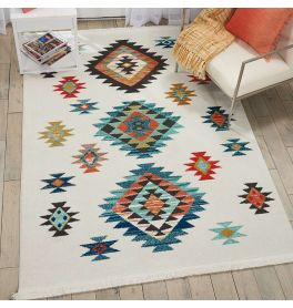 On Sale Navajo Tribal Fringe Medium Rug White NAV07 119x188cm