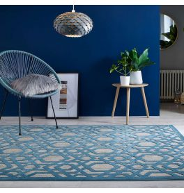 Outdoor Piatto Blue Two Tone Rug