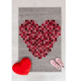Childrens Pixel Heart Red  Grey Rug