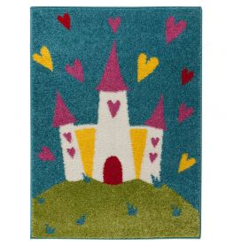 Childrens Princess Castle Multi Coloured Rug