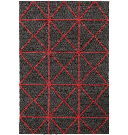 Prism Rug in Charcoal Red